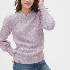 NWT Gap Puff Sleeve Crewneck Sweater Pink multi